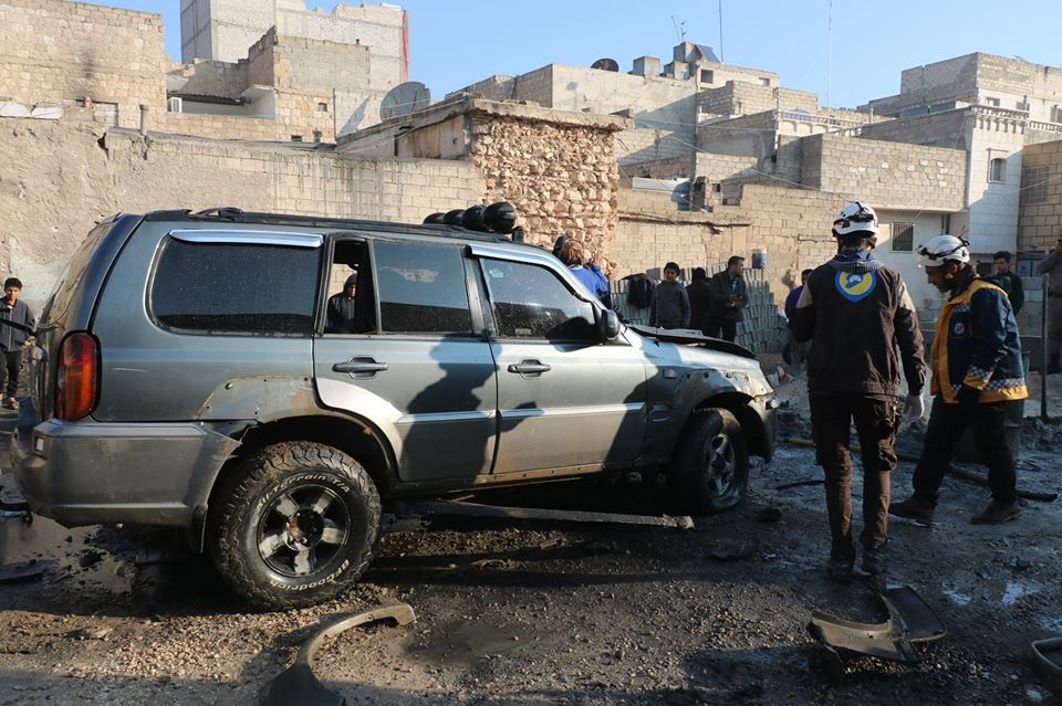 An explosive device, planted in a private car, exploded in the city of al-Bab, east of Aleppo, November 28, 2019 (Syrian Civil Defense)