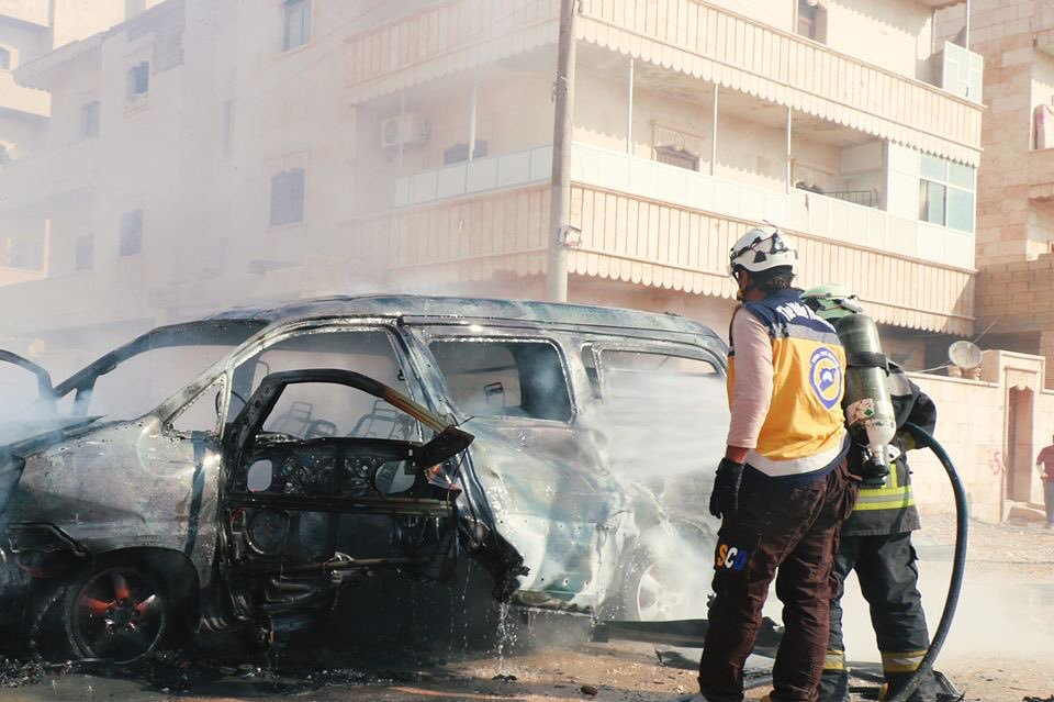 An explosive device exploded in a private car in the city of al-Bab, east of Aleppo, November 10, 2019 (Syrian Civil Defense)