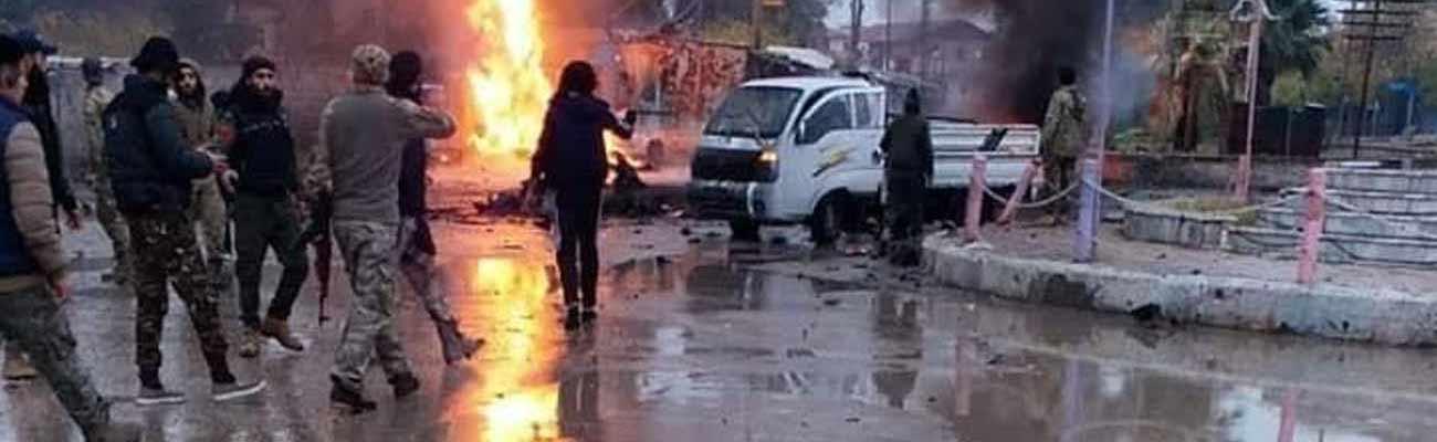 A car bomb explosion near al-Jawza roundabout in Ras al-Ayn, north of Hasakah, December 5, 2019 (al-Khabur)