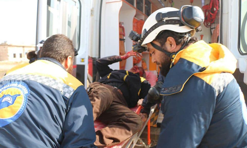 The Syrian Civil Defence volunteers rescuing the wounded in the province of Idlib - 27 January 2020 (The Syrian Civil Defence Facebook page)