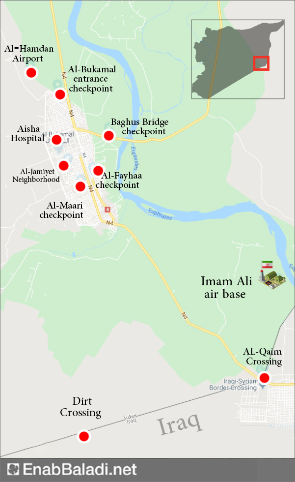 The most important Iranian checkpoints and bases in al-Bukamal (documented by Enab Baladi with the assistance of local sources)