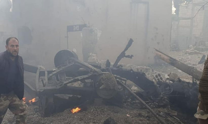 A car bomb explosion in the town of Suluk in the countryside of Raqqa - 23 December 2019 (Raqqa is Being Slaughtered Silently Facebook news page)