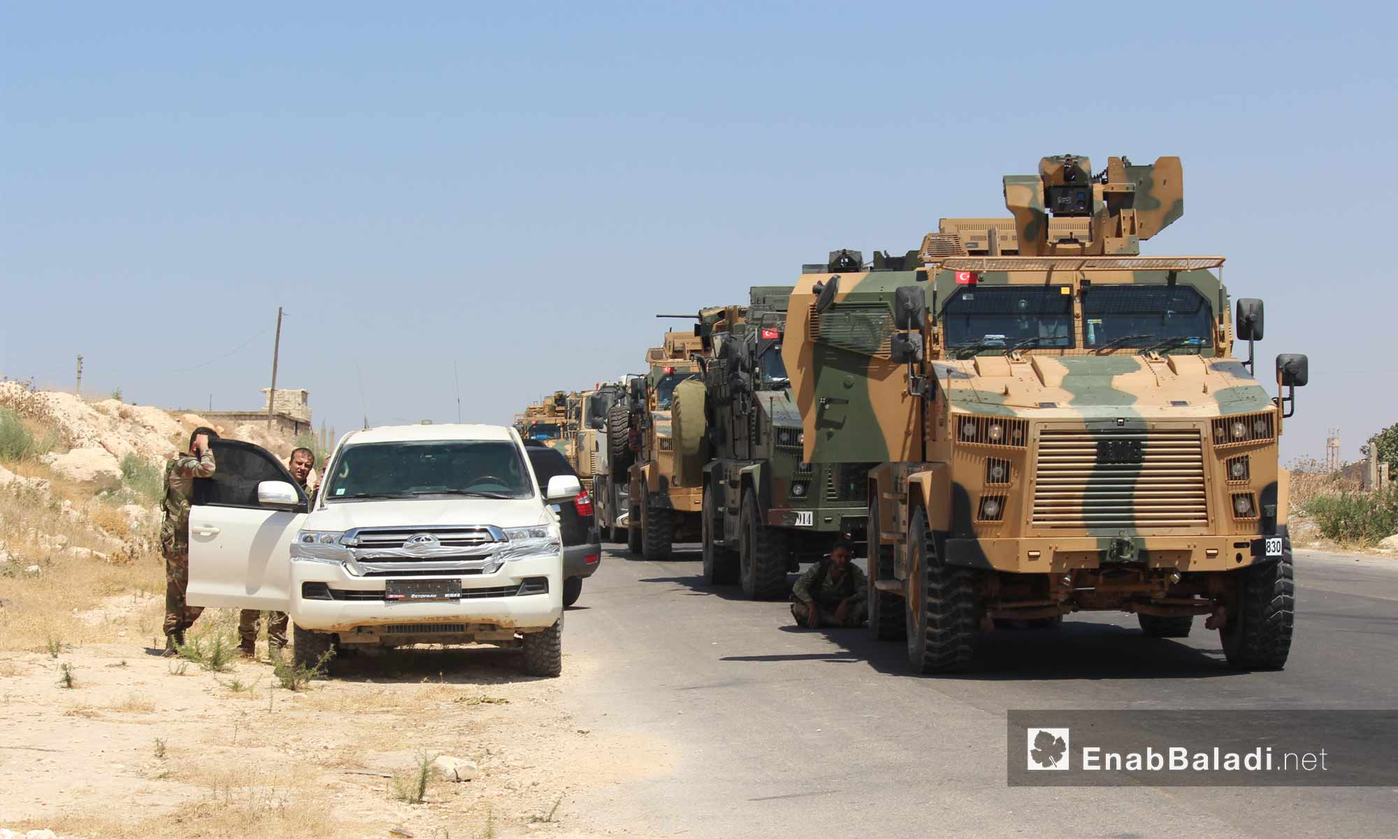 A convoy of the Turkish Armed Forces was forced to stop near the village of Maʿar Hatat, south of Maarat al-Numan in the province of Idlib after being targeted by the Syrian regime forces - 19 August 2019 (Enab Baladi)