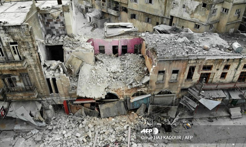 A building was destroyed in a regime airstrike on the town of Ariha in Syria's last major stronghold of opposition forces - 15 January 2020 (France Press)