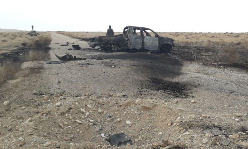 A Syrian regime military vehicle was bombed in the Badia region of Homs by ISIS fighters - 2 January 2020 (Amaq news agency)