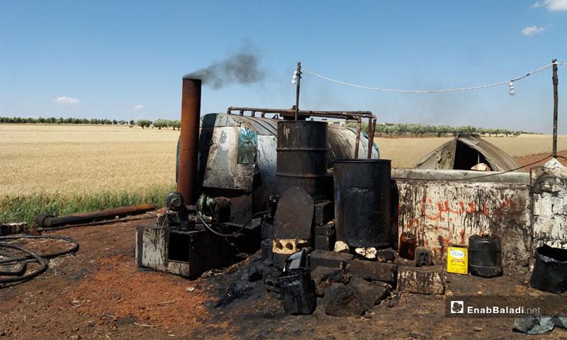 Primitive oil refining burner in Aleppo countryside - May 13, 2017 (Enab Baladi)