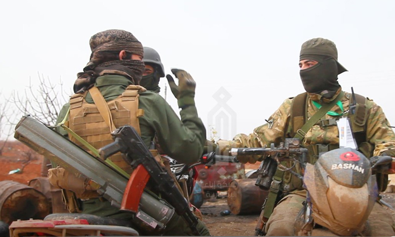 Hay'at Tahrir al-Sham's fighters in a battle in the eastern countryside of Idlib - 8 January 2020 (HTS-linked news agency,Ibaa )