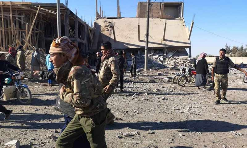 A car bomb targeting a building near the al-Senour checkpoint in the town of Abu Hamam in the western countryside of Deir Ezzor 1 January 2019 (the Euphrates Post)