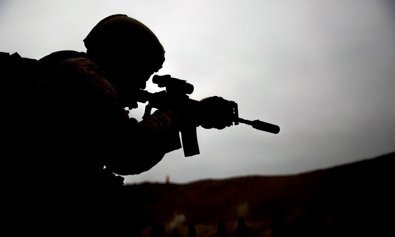 Photo of soldier aiming at a target