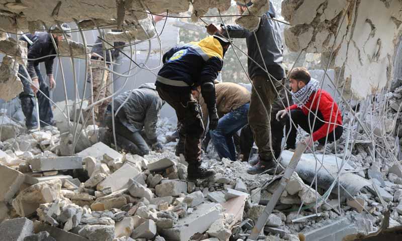 Members of Syrian Civil defense attempting to rescue civilians in Aleppo countryside - 18 January 2020 (Civil Defense in Aleppo)
