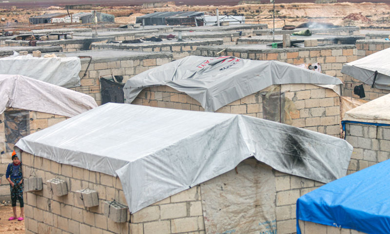 Stone-walled tents for accommodating internally displaced persons in Idlib - December 2019 (Abrar Organization)