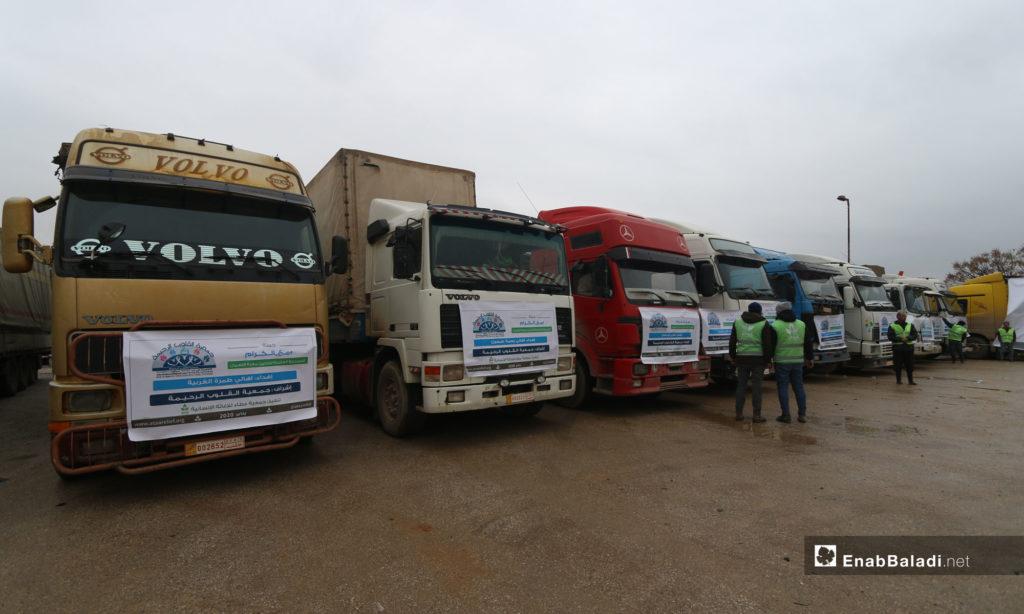 Relief trucks head to the southern countryside of Idlib - January 2020 (Enab Baladi)