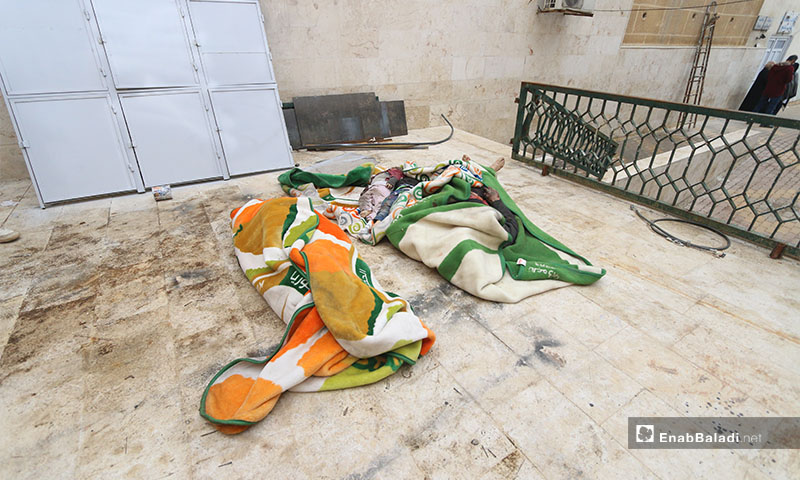 A displaced family was killed due to the aerial bombardment of the regime forces and Russia on the Bala association for displaced persons in the western countryside of Aleppo - 18 January 2020 (Enab Baladi)