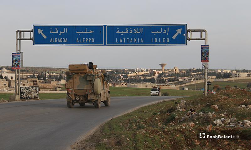 Turkish convoy of 25 vehicles entering Syrian territories in Atarib - February 3 (Enab Baladi)