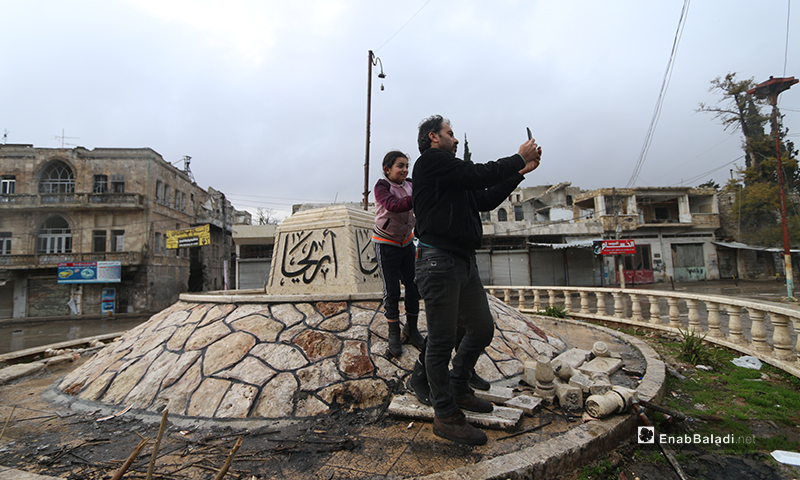 Some of the remaining residents in the town of Ariha - 8 Februray 2020 (Enab Baladi)