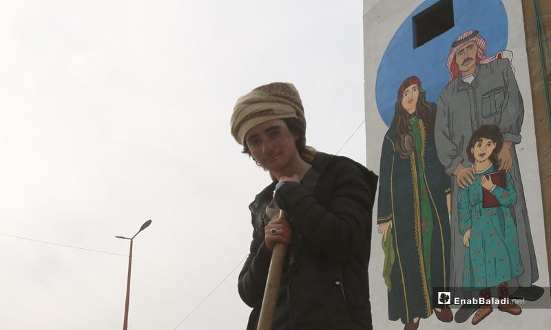 "Graffiti in Raqqa by ""We Are Its Residents"" campaign (Enab Baladi)"