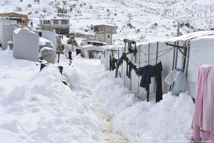 Aarsal refugee camps drowned in the snow - 10 January 2019 (Anadolu Agency)