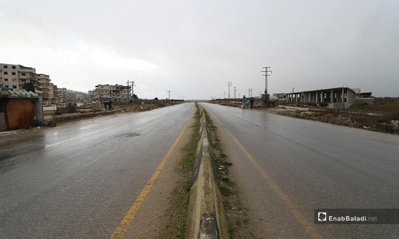 The M4 international highway is free of traffic movements - 8 February 2020 (Enab Baladi)