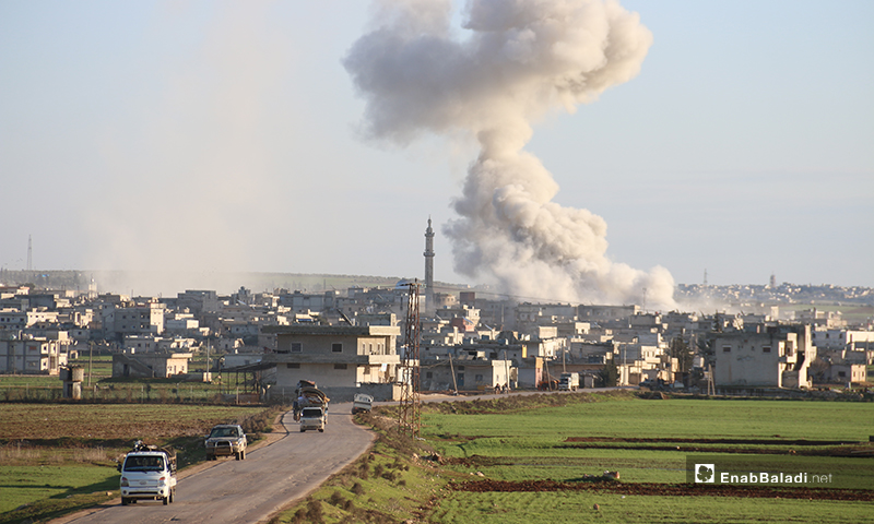 Smoke rising from a barrel bomb attacks carried out by the Syrian regime air forces in the town of Kafr Nouran in western Aleppo - 9 February 2020 (Enab Baladi)