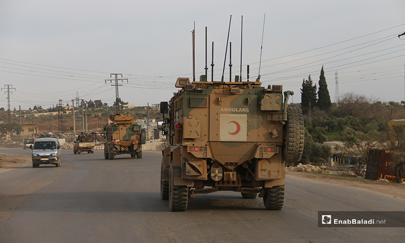 A Turkish military convoy of 25 vehicles entering the town of Atarib in northern Syria - 3 February (Enab Baladi)