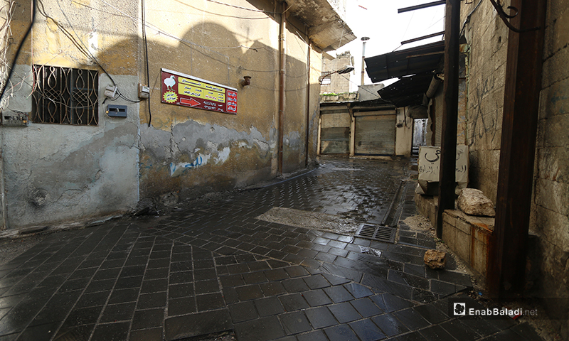 Shops in the town of Ariha are closed after the displacement of its residents - 8 February 2020 (Enab Baladi)