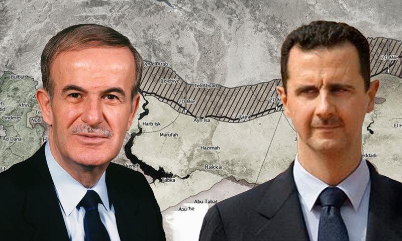 A photo for Hafez al-Assad and his son, Bashar (edited by Enab Baladi)