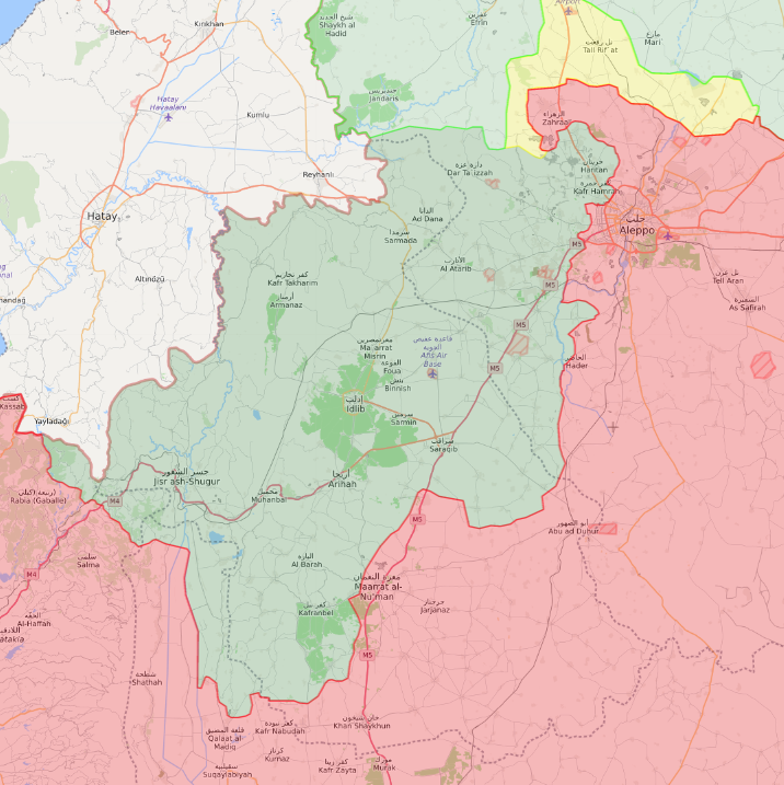 Field control map in northwestern Syria - 2 February 2020 (Livemap)