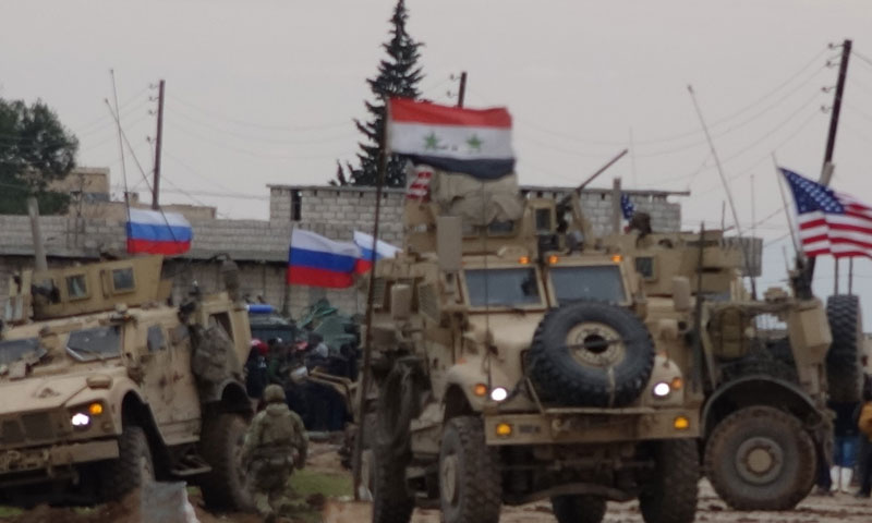 A clash between a US patrol and Syrian regime forces under the eyes of Russian military police in al-Qamishli countryside, 12 February 2020 (Russia Today correspondent-twitter)