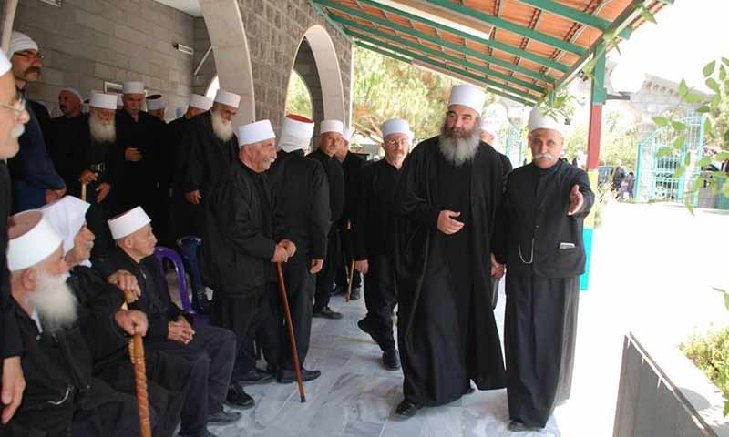 The spiritual sheikhs of the presidency of the united Muslims in As-Suwayda southern Syria, April 2019 (Spiritual chair on Facebook)