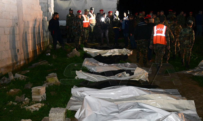 Mass grave discovered by the regime in Duma - 16 February 2020 (SANA)