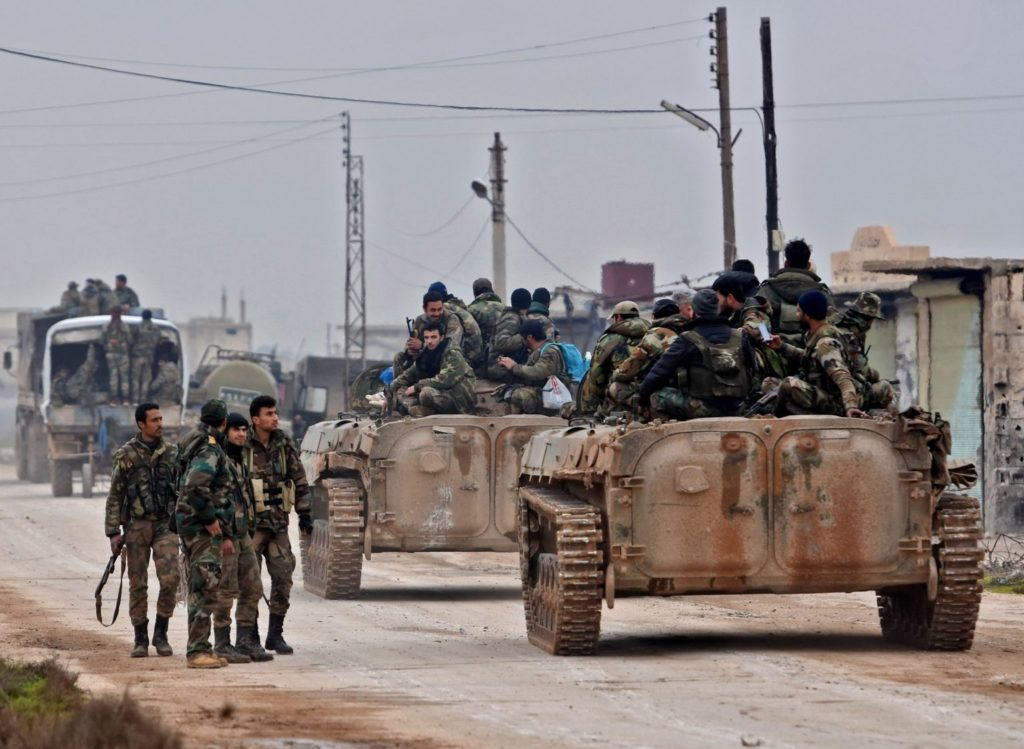 Syrian regime forces in Tell Touqan in Idlib countryside - February 5, 2020 (AFP)