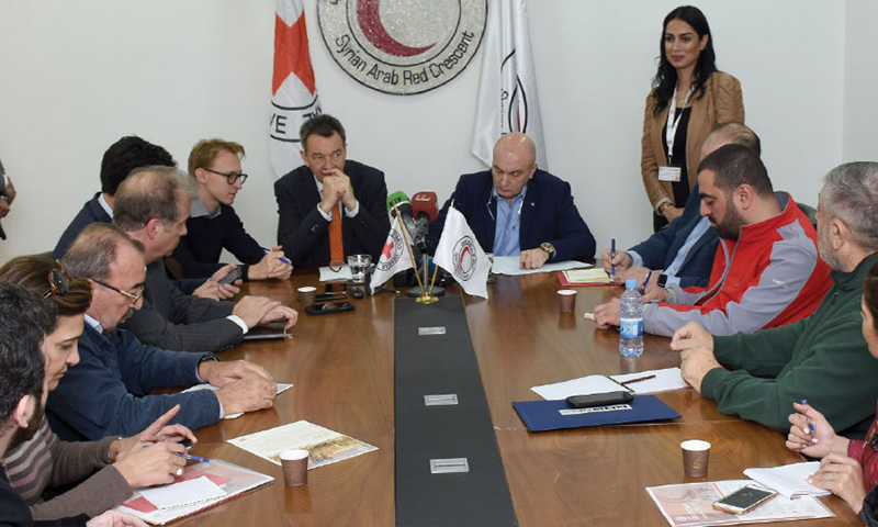 A meeting between the head of SARC, Khaled Habbouti, and the president of the International Committee of the Red Cross, Peter Maurer, in Damascus – 11 March (al-Watan)