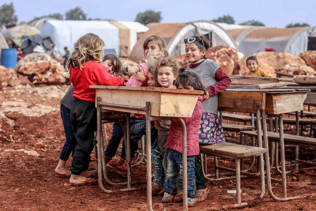 A camp in the village of Qah, about three kilometers from the Syrian-Turkish border - January 2019 (UNICEF).