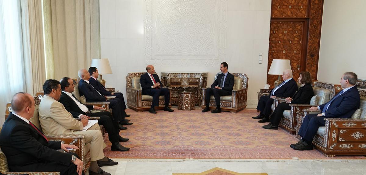 Bashar al-Assad receives a Libyan delegation on 2 March 2020 (SANA)