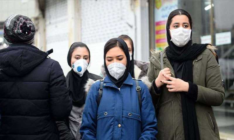 Iranian women committed to the precautionary measures against the spread of the Coronavirus in Iran - 22 February 2020 - (Anadolu Agency)