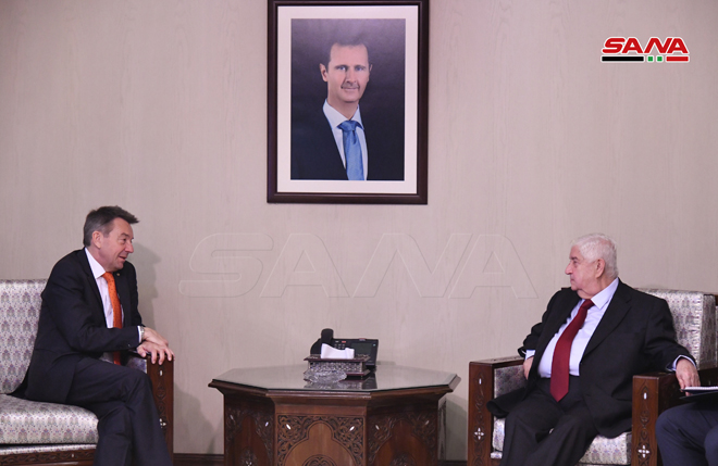 Syrian Foreign Minister, Walid al-Muallem, with the President of the International Committee of the Red Cross (ICRC), Peter Maurer - March 10 (SANA)