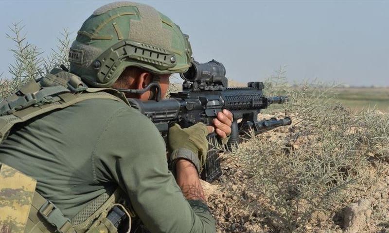 A Turkish soldier in Ras al-Ein region (Anadolu News Agency)