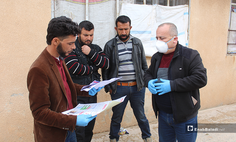 An awareness campaign on the novel Coronavirus (Covid-19), conducted by Idlib's directorate of health in northern Syria, where internally displaced persons (IDPs) reside - 19 March 2020 (Enab Baladi)