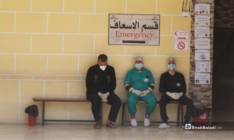 The readiness of emergency medicine cadre at Kafr Takharim Hospitals in the northern countryside of Idlib - 27 March 2020 (Enab Baladi)