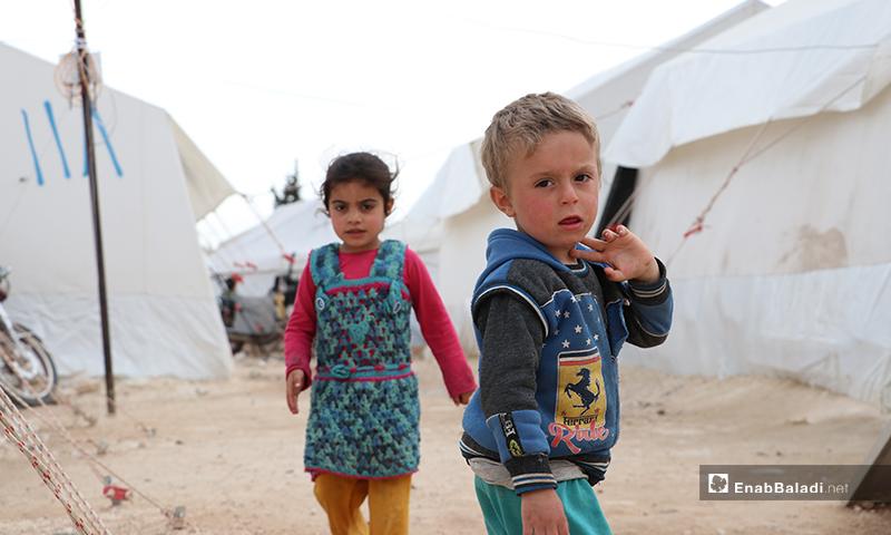 Two children from the inhabitants of al-Azraq camp of al-Bab city in rural Aleppo – 25 March 2020 (Enab Baladi)