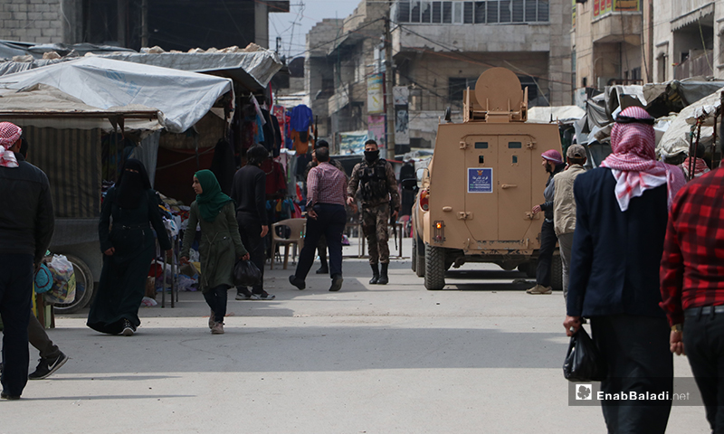 A police vehicle used by the officers in the al-Bab city during a campaign to break up social gatherings – 28 March 2020 (Enab Baladi)