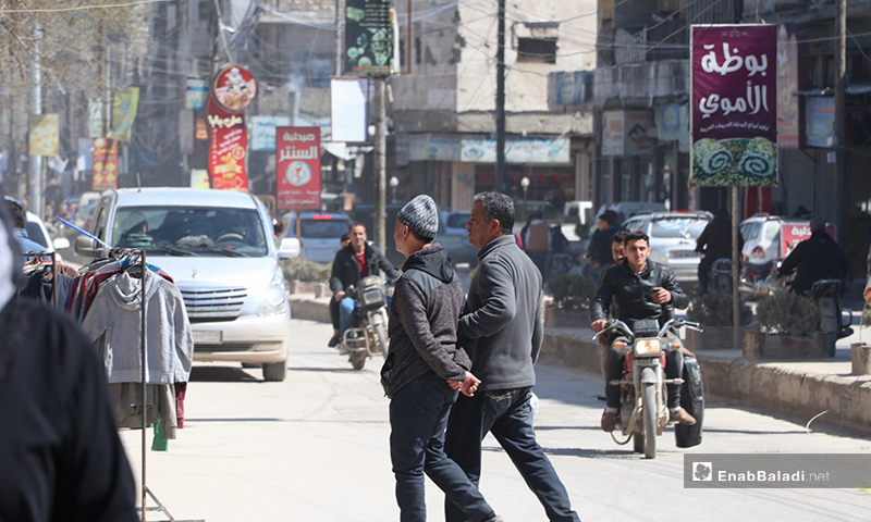 Images from al-Bab city in Aleppo province showing the closure of public utilities and overcrowding streets despite the campaign of the civil defense to raise people's awareness on the novel coronavirus (Covid-19) – 22 March 2020 (Enab Baladi)