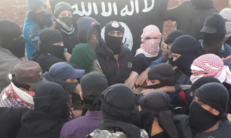 IS's militants pledge allegiance to their new leader Abu Ibrahim al-Hashemi in Hauran area of south Syria- 5 November 2019 (Amaq News Agency)