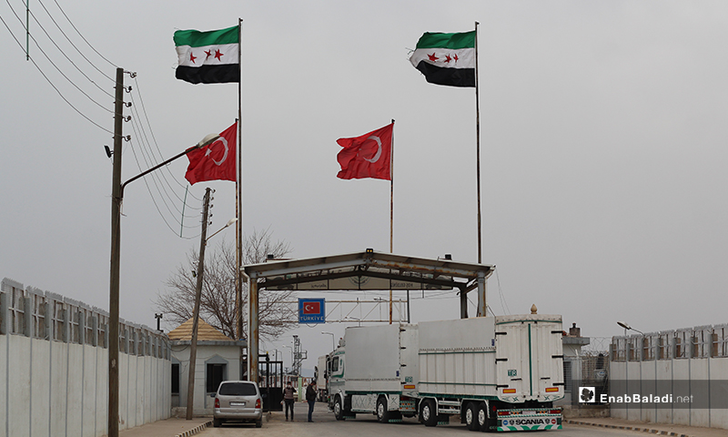 A part of Coronavirus prevention and protection measures aimed at catching infections in all arrivals and departures at the Bab al-Salama border crossing with Turkey, north of Aleppo - 12 March 2020 (Enab Baladi)