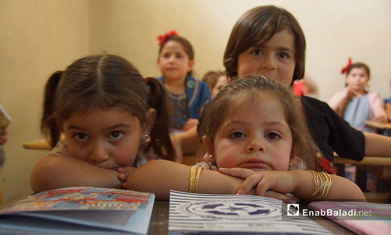 A free private kindergarten provides the right of education and play for orphaned children from Hama and Idlib in the town of Kafar Sijnah - 25 July 2018 (Enab Baladi)
