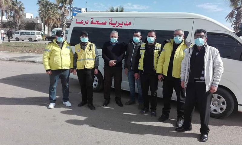 Mobile clinic placed by the Syrian Health Directorate at the Nassib border crossing with Jordan – 28 January (Daraa Health Directorate Facebook)