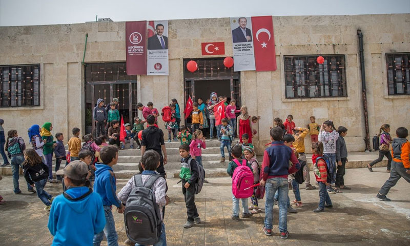 A school in the city of Afrin after its opening, following the Free Syrian Army's takeover of the area - (Anadolu Agency)