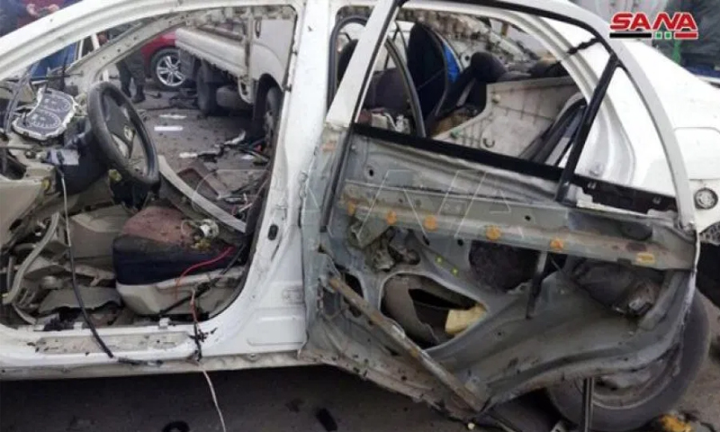 An explosive device explodes in a car next to the Tishreen Stadium in the capital, Damascus - 25 February 2020 (SANA)