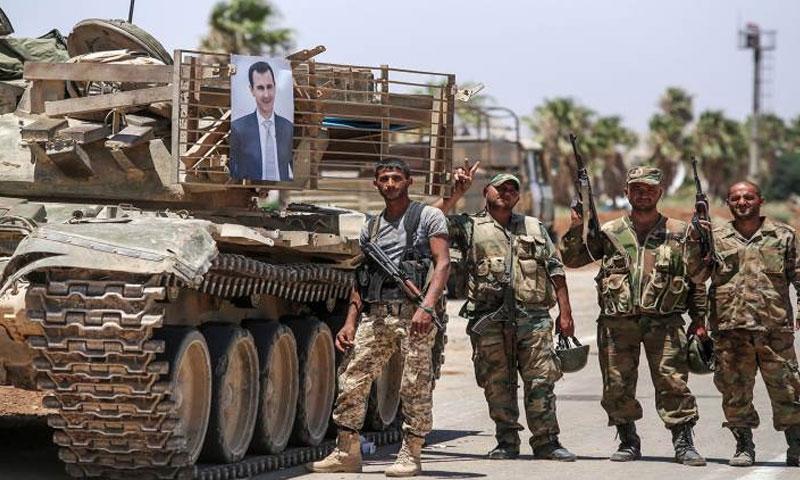 Members of the regime forces in Daraa city - 2015 (SANA)