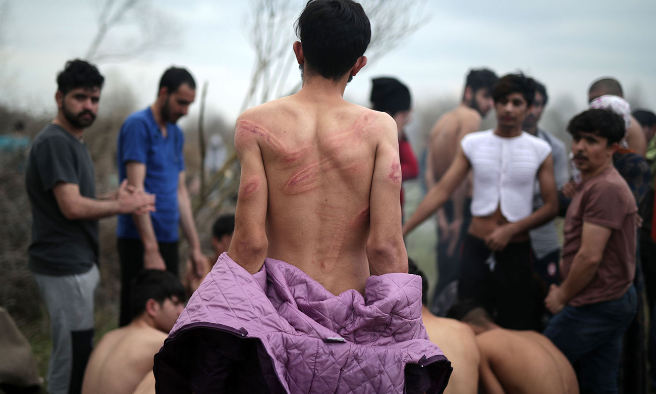 Refugees on the Turkish-Greek borders after being stripped of their clothes by Greek forces - 6 March 2020 (TRT)